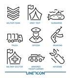 Комплект тонкой линии значков для воинской войны и армии иллюстрация штока