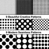 Комплект 9 точечных растров польки полутонового изображения иллюстрация вектора