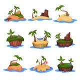 Комплект тропических островов с пальмами и горы vector иллюстрации на белой предпосылке Стоковые Фото