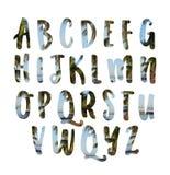 Комплект тропического экзотического алфавита помечает буквами шрифт ABC Стоковые Фото