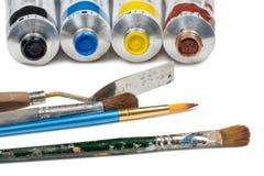 Комплект трубок краски масла и инструментов картины Стоковое Изображение RF