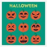 Комплект тыкв на хеллоуин с различными сторонами Стоковое Изображение RF