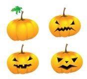 Комплект тыкв при изолированные стороны на Halloween, Стоковые Фотографии RF