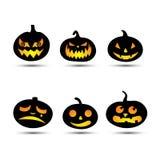 Комплект тыкв хеллоуина, различные эмоции на сторонах Праздники осени также вектор иллюстрации притяжки corel иллюстрация штока