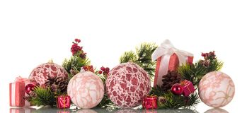 Комплект украшений и коробок рождества с подарками Стоковое Изображение