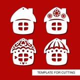 Комплект украшения рождества Силуэты небольших домов хат бесплатная иллюстрация