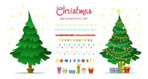 Комплект украшения рождества с изолированной декоративной зимой возражает Стоковое Изображение