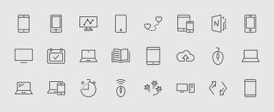 Комплект умных приборов и устройств, компьютерного оборудования и электроники Значки электронных устройств для сети и передвижног иллюстрация вектора