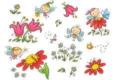 Комплект фей шаржа, насекомых, цветков и элементов, векторных график иллюстрация штока