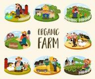 Комплект фермеров на предпосылке его фермы Стоковые Изображения RF