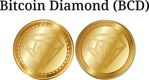 Комплект физического золотого BCD диаманта Bitcoin монетки Стоковое Изображение RF