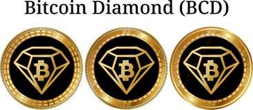 Комплект физического золотого BCD диаманта Bitcoin монетки Стоковая Фотография RF