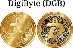 Комплект физической золотой монетки DigiByte DGB, цифрового cryptocurrency Комплект значка DigiByte DGB иллюстрация вектора
