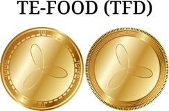 Комплект физической золотой монетки TE-FOOD TFD иллюстрация вектора
