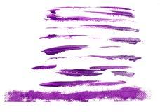 Комплект фиолетовых акриловых ходов щетки Стоковые Фотографии RF