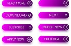 Комплект фиолетовых значков изолированных на белизне Стоковые Изображения RF