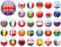 комплект флагов кнопок лоснистый Стоковые Фотографии RF