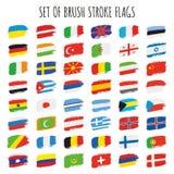 Комплект флагов brushstroke вектора Стоковая Фотография