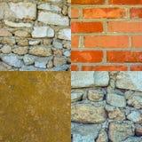 Комплект фото старых каменных стен текстурирует предпосылку Стоковое Изображение RF