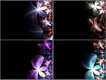 комплект фрактали цветков темноты Стоковые Фото