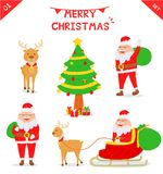 Комплект характера Санта Клауса Иллюстрация вектора