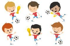 Комплект характеров играя футбол в различных представлениях Стоковая Фотография