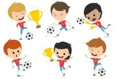 Комплект характеров играя футбол в различных представлениях Стоковое Изображение RF