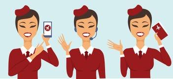 Комплект 3 характеров летного обслуживающего персонала Стоковые Фото