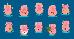 Комплект характеров свиньи милого шаржа эмоциональных розовых также вектор иллюстрации притяжки corel иллюстрация штока