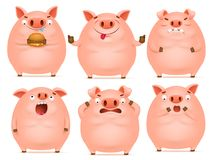 Комплект характеров свиньи милого шаржа эмоциональных розовых иллюстрация вектора