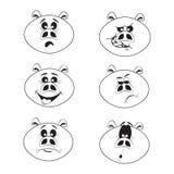Комплект 6 характеров свиньи милого шаржа эмоциональных бесплатная иллюстрация