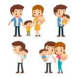 Комплект характеров семьи Отец, мать, сын и дочь держать рук Стоковое Фото