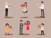 Комплект характеров с тортом Работник офиса, бизнесмен, домохозяйка, дети празднует Иллюстрация штока