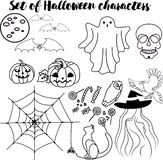 Комплект характеров хеллоуина бесплатная иллюстрация