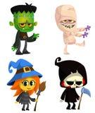 Комплект характеров хеллоуина Vector зомби шаржа, мумия, ведьма с веником, мрачный жнец с косой иллюстрация штока