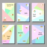 Комплект художнических красочных всеобщих карточек Стиль Мемфиса Свадьба, годовщина, день рождения Стоковые Фотографии RF
