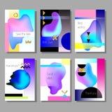 Комплект художнических красочных всеобщих карточек Стиль Мемфиса Свадьба, годовщина, день рождения Стоковое фото RF