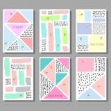 Комплект художнических красочных всеобщих карточек Стиль Мемфиса Свадьба, годовщина, день рождения Стоковое Изображение RF