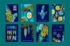 Комплект художнических творческих карточек с Рождеством Христовым и Nyew года иллюстрация вектора