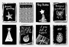 Комплект художнических творческих карточек с Рождеством Христовым и Нового Года han стоковая фотография rf