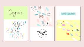 Комплект художнической нарисованных рукой творческих поздравительных открыток иллюстрация штока