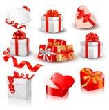 Комплект цветастых коробок подарка вектора с смычками иллюстрация штока