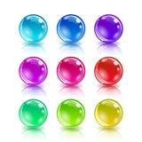 Комплект цветастых шариков на белой предпосылке Стоковая Фотография