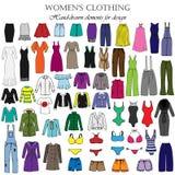Комплект цвета нарисованной вручную одежды ` s женщин Стоковые Изображения RF