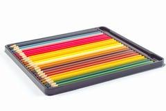 Комплект цвета рисовал в коробке на белой предпосылке Стоковое Изображение RF