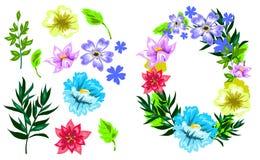 Комплект цветка стиля эскиза вектора нарисованный рукой Стоковое фото RF