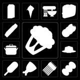 Комплект цветной капусты, кофе, спаржи, ветчины, мороженого, студня, Po иллюстрация вектора