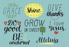 Комплект 8 цитат литерности руки христианских с символами i любит Иисуса фиоритура Дайте спасибо Сделайте хорошее Вырастите в Хри иллюстрация вектора