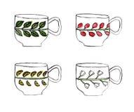 Комплект чашка и кружек покрашенных акварелью Стоковые Изображения