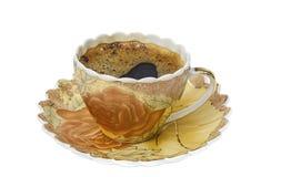 Комплект чая, комплект кофе, поддонник, чашка, белая предпосылка, утварь кухни, kitchenware Стоковые Изображения RF